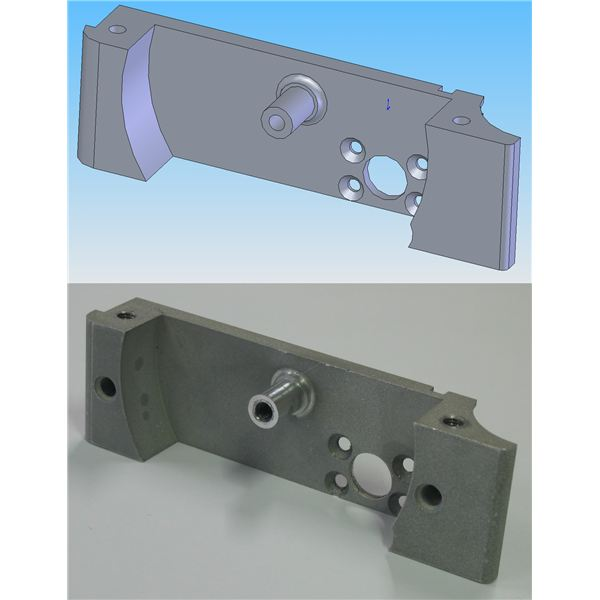 Example of Computers use, CAD image and finished component using programmrd CNC machine from Wikipedia by Mike1024