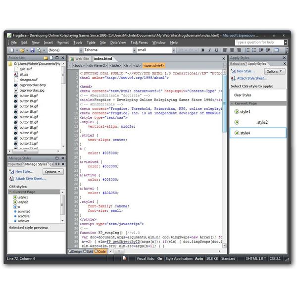 Code View in Expression Web 2