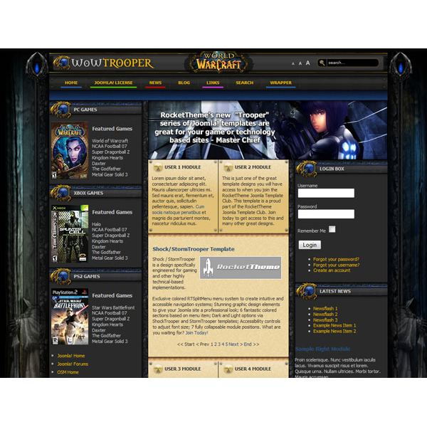 top world of warcraft joomla templates six great wow