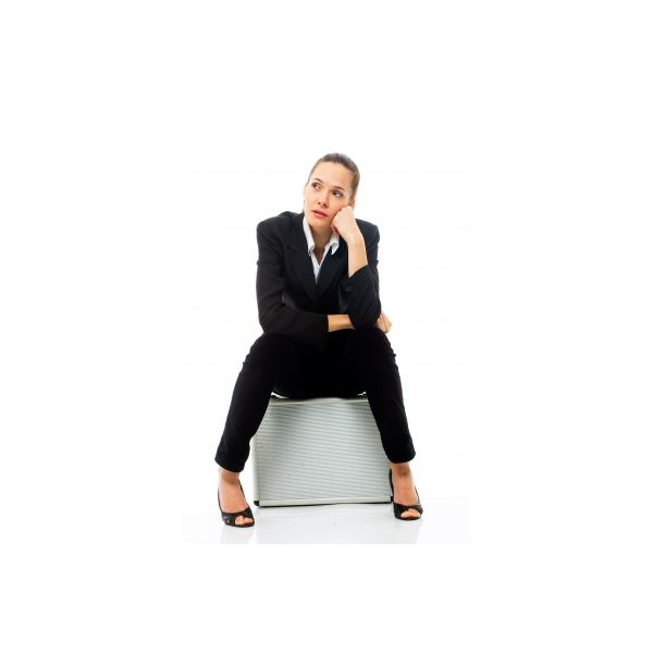 Woman Sitting On Briefcase