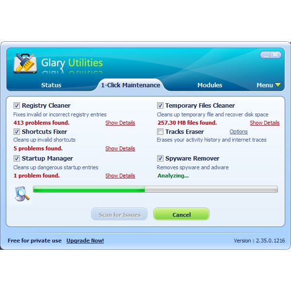 Glary's 1-click maintenance tools