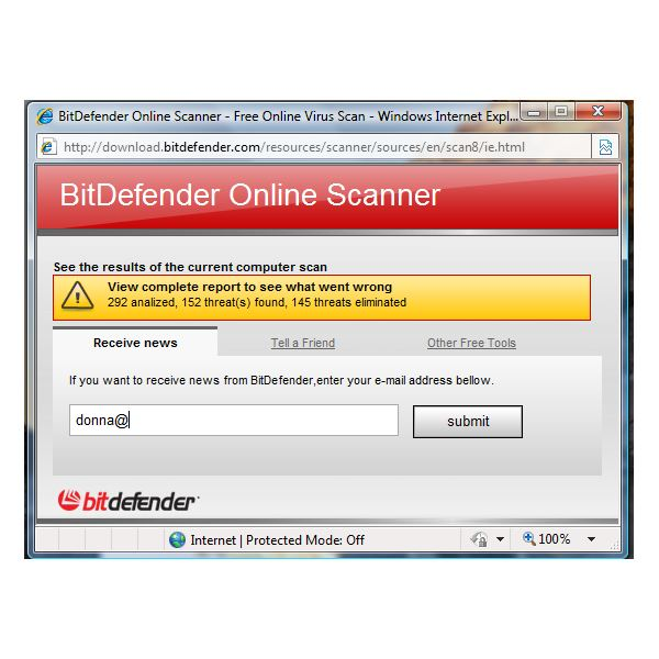 Scan result using BitDefender Online Scanner