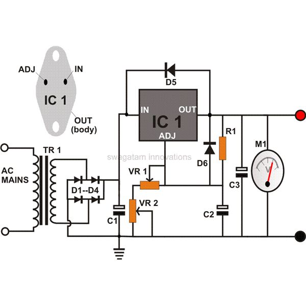 0 to 12 Volt Adjustable DC Power Supply Circuit Diagram, Image