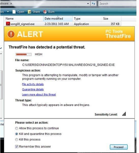 ThreatFire blocked this malware but Mamutu did not