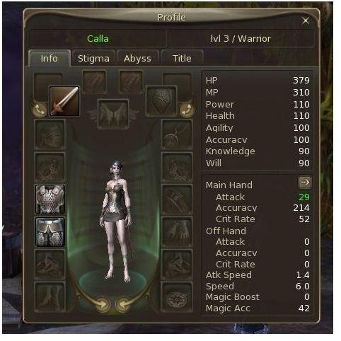 Aion Warrior Gear & Stats