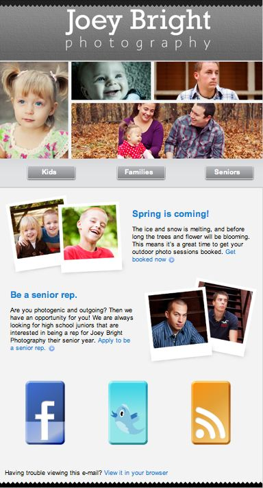Joey Bright Photography Spring E-Newsletter