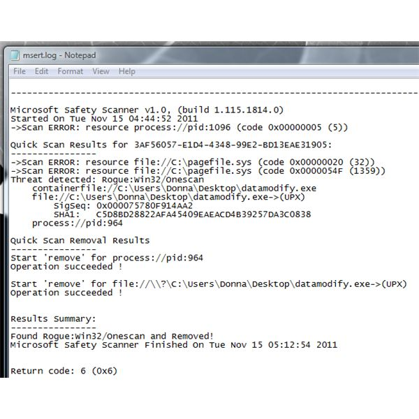 The log file display the process ID of the malware