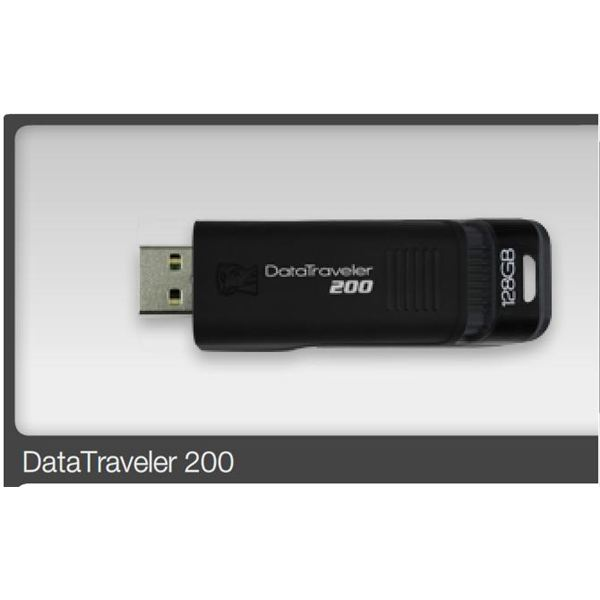 Kingston 128gb Data Traveler 200 USB flash drive- open