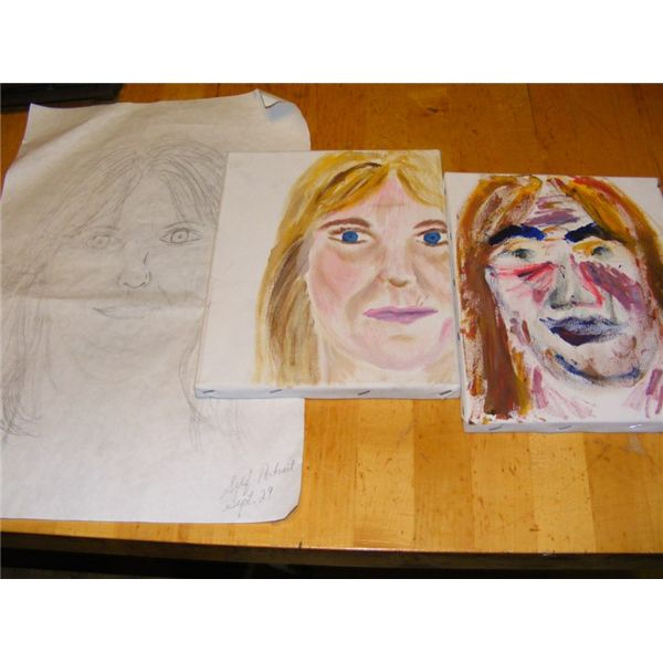 Drawing of self and portraits