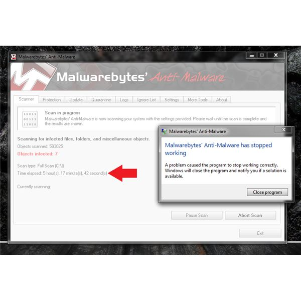 Malwarebytes Quits Scanning on Infected PC