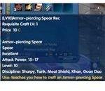 Armor Piercing Spear Recipe