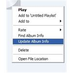 Updating album information will prompt Windows Media Player to connect to the online database and download the correct album data