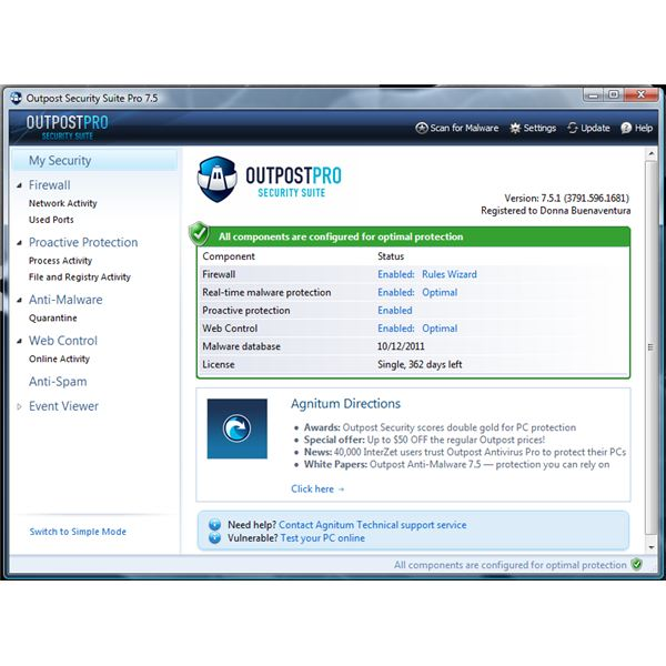 Outpost Security Suite Pro v7.5 UI