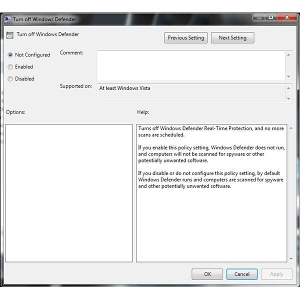 Local Group Policy for Windows Defender