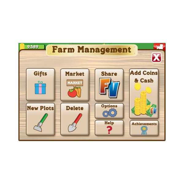 Easy to use FarmVille user interface