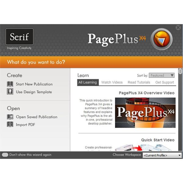 PagePlus Startup Wizard