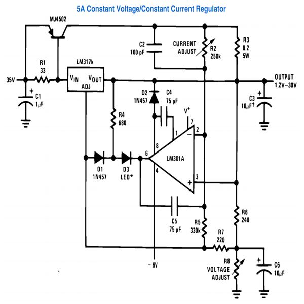 application circuits using lm317 from national semiconductorlm317, 5a constant voltage, constant current regulator circuit diagram, image
