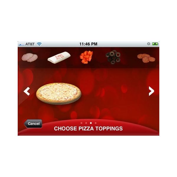 Pizza Hut App's Choose Toppings