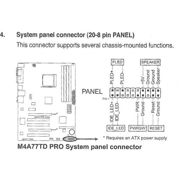 motherboard power switch connector