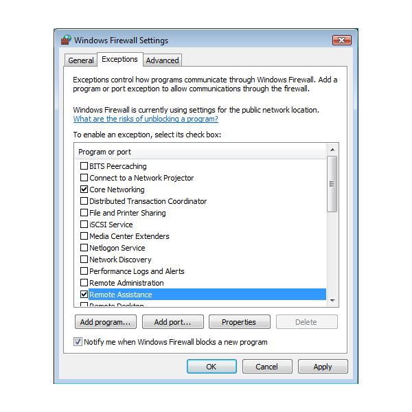 Firewall and Remote Assistance in Windows