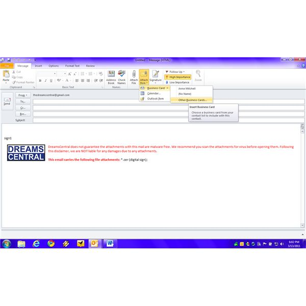 Fig 2 - Add Business Card to Send E-mails in MS Outlook - Using Compose Message Window