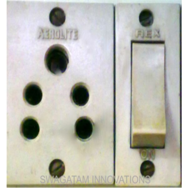 a typical switch and 3-pin socket,