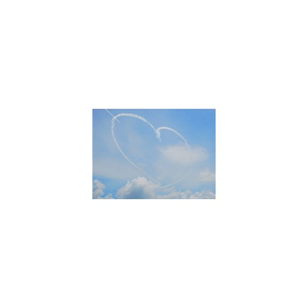 An aerial maneuver with smoke trails in the shape of a heart.
