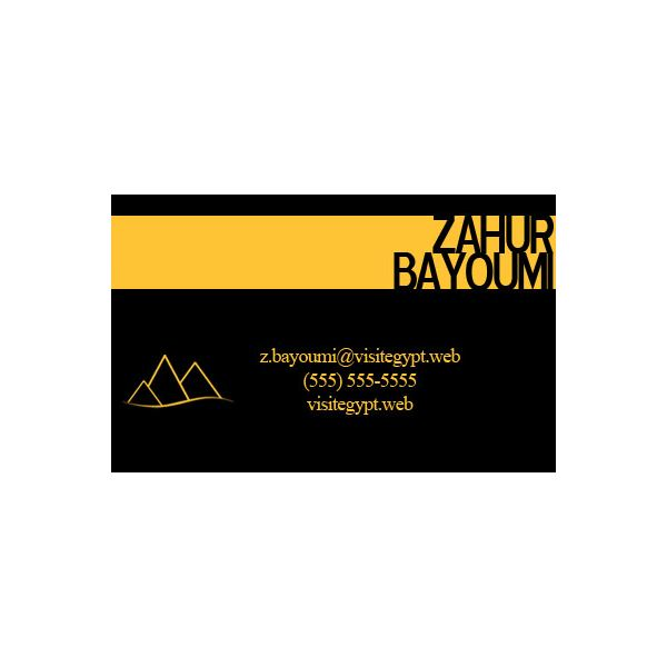 Egyptian travel business card - yellow and black