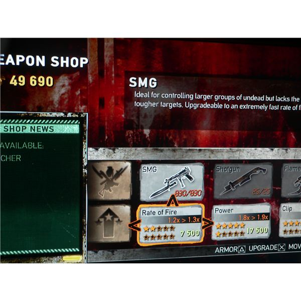 A look at the weapon upgrade menu for Dead Nation.