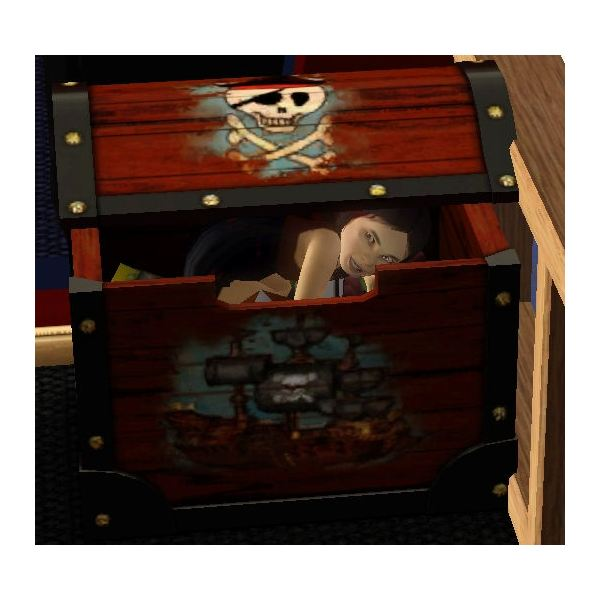 The Sims 3 Vampire Toddler Playing in Toy Chest