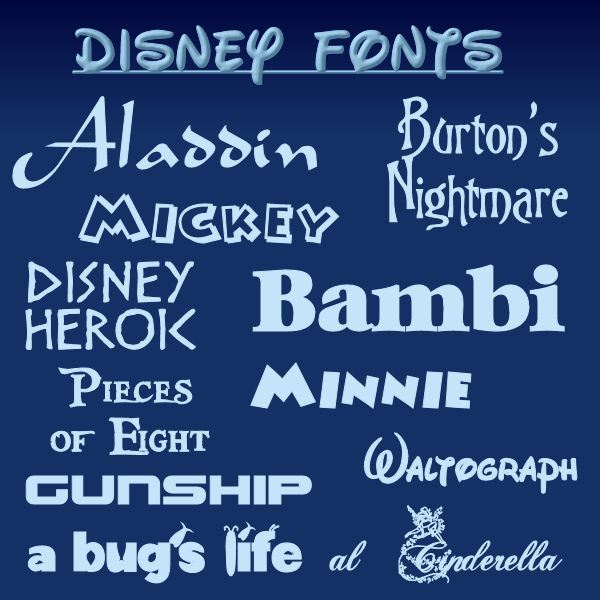 Awesome fonts inspired by Walt Disney creations