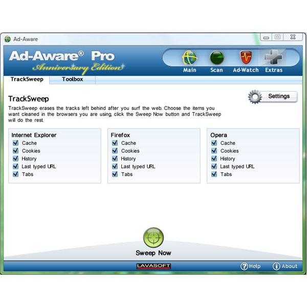 TrackSweep in Ad-Aware Anniversary Edition