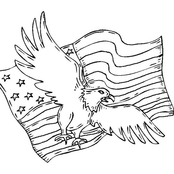 coloring pages eagle with flag - photo#7