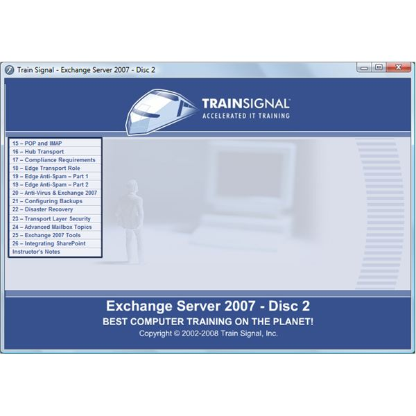 Exchange 2007 Training Video - DVD2 Menu Interface