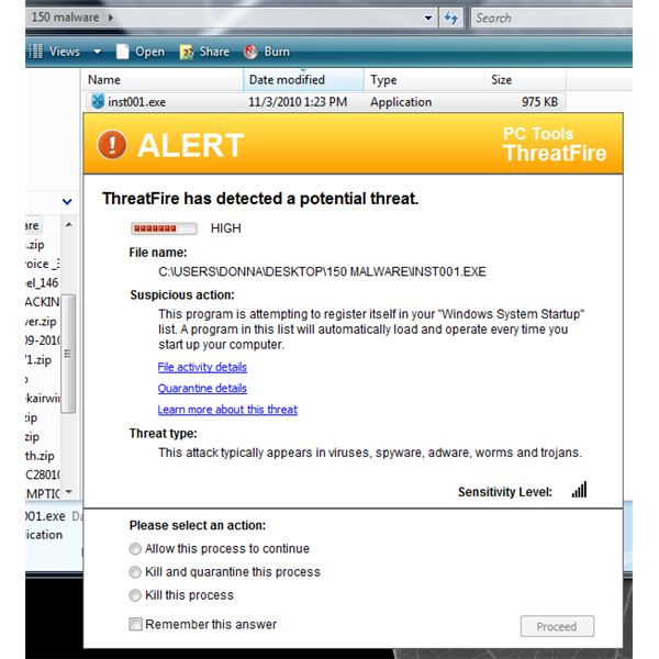 Rogue Software Blocked by ThreatFire
