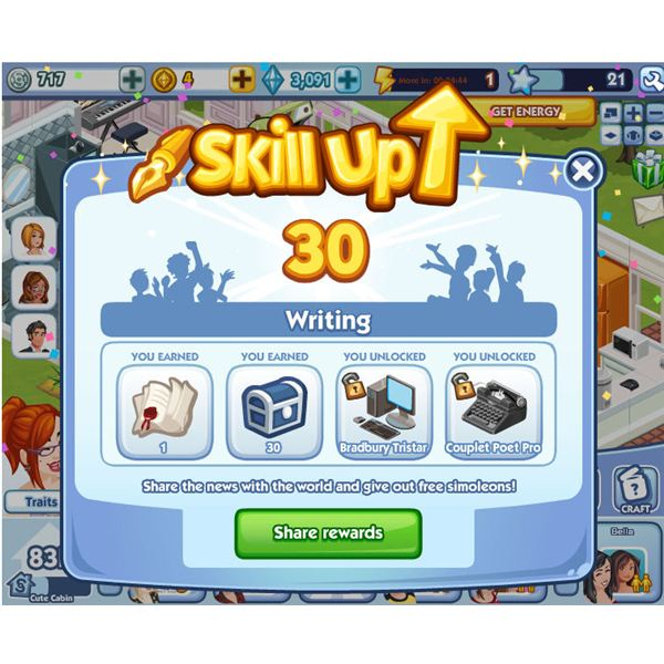 The Sims Social writing skill up