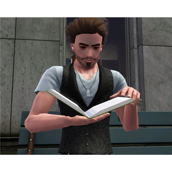 Learning The Sims 3 Late Night skill, mixology, with a book