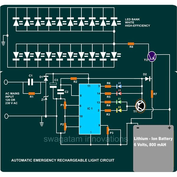 How to build a portable led emergency rechargeable light emergency rechargeable light circuit diagram image ccuart Image collections