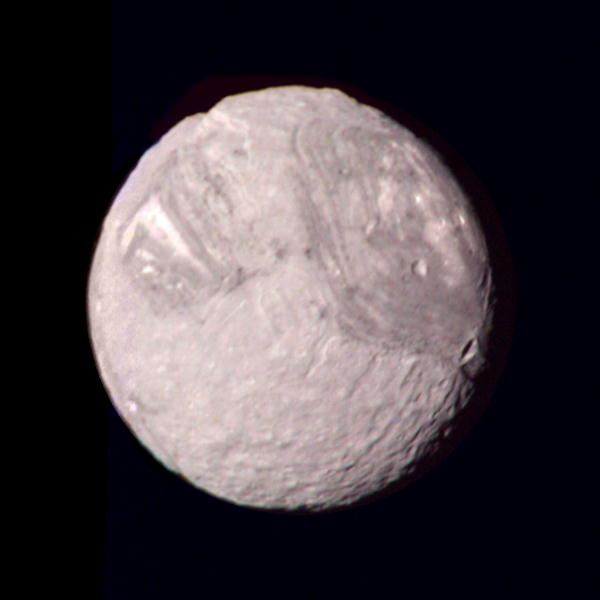 A Color Composite Picture of Miranda Taken by Voyager 2 in 1986 from a Distance of 147,000 km