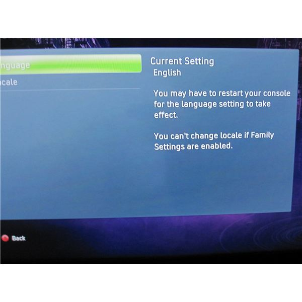 Xbox 360 Language and Locale Menu