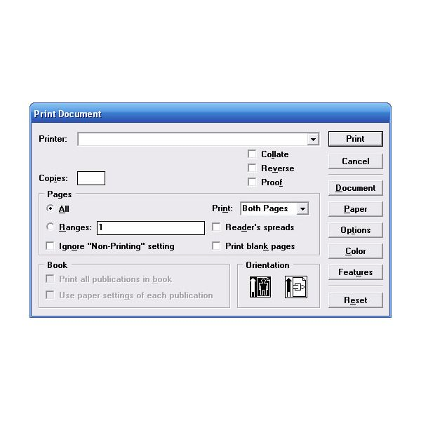 The Print Setup dialog box