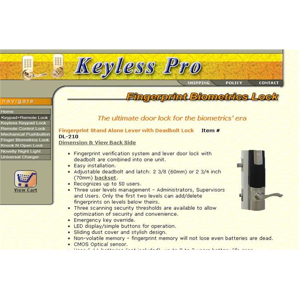 The Last Biometric Door Lock In This Buyers Guide Is The Fingerprint  Stand Alone Lever With Deadbolt Lock DL 210 From Keyless Pro. This Item  Features Three ...