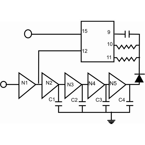 glitch suppressor and oscillator circuits using cmos inverter gates  not gates  and their