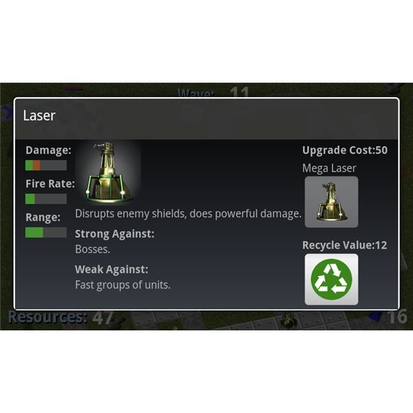 Tower Raiders Laser Upgrade Screen