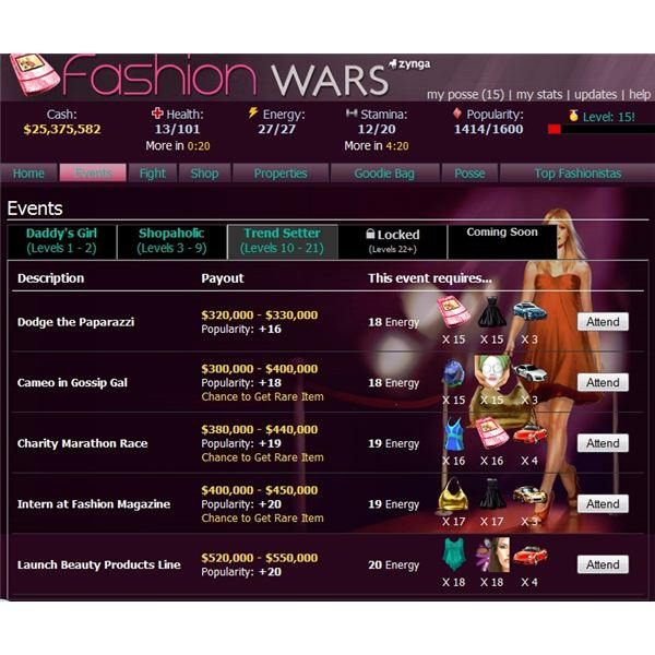 Celebrity events in Fashion Wars game