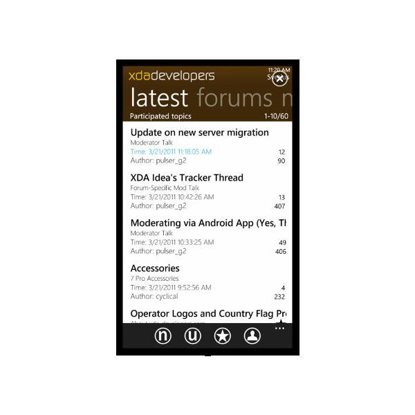 XDA-Developers app for WP7