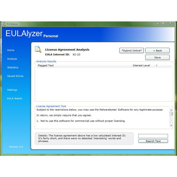 Analyze End User License Agreement Using Eulalyzer