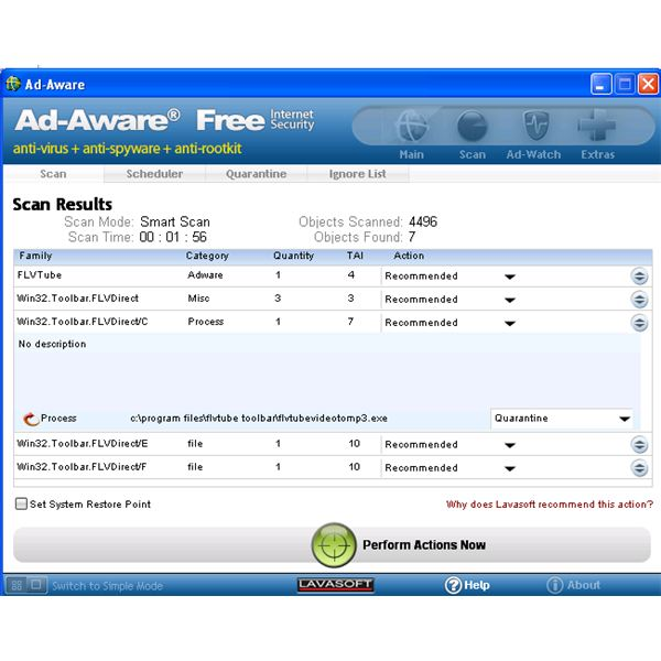 Ad-Aware Remove FLVTube Player and FLVTube Toolbar