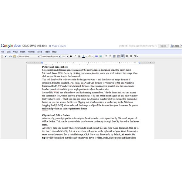Google Docs - open source software for editing articles