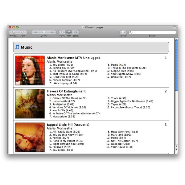 A PDF version of your playlist or iTunes library